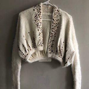 Anthropologie Fuzzy Cropped Sequin Sweater